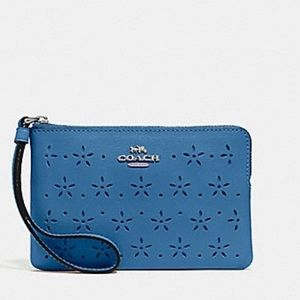 NEW Coach  Perforated Leather Zip Wristlet